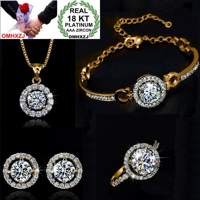 c2ffcebdeb1a OMHXZJ AAA de cristal austriaco de plata de oro 18KT platino mujer novia  Santa Luz collar