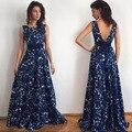 2016 mujeres del verano dress blue rose imprimir piso-longitud larga dress mangas partido atractivo backless dress con cinturón