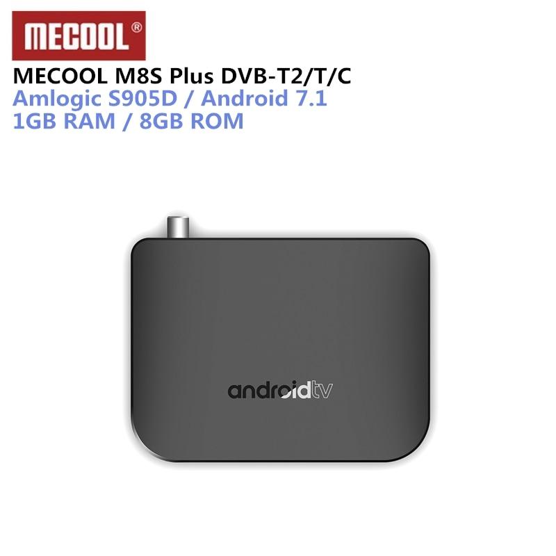 MECOOL M8S Plus DVB-T2/T Android 7.1 TV Box Amlogic S905D décodeur 1 GB 8 GB 2.4G WiFi 100 Mbps BT4.1 4 K TV Box Pk X96 mini