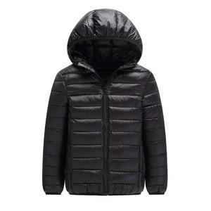 Image 2 - คุณภาพสูง 2020 ฤดูหนาวชายเสื้อลงเสื้อเด็ก Light Down Coat Hooded หญิงบาง WARM Outerwears 10 12 14 16 Y