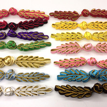 DoreenBeads 1 Pair Chinese Frog Buttons Closure Knot Button Handmade Leaf Cheongsam Sewing DIY Crafts About 10cm long