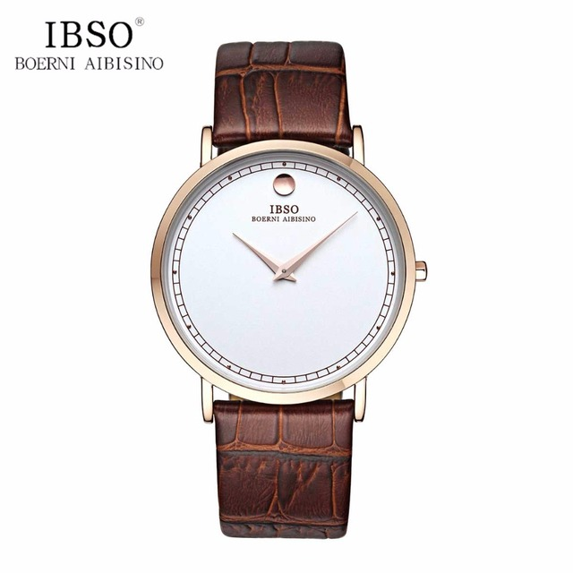 IBSO 2017 Simple Style Ultra Thin Mens Watches Fashion Quartz Watches Leather Ba