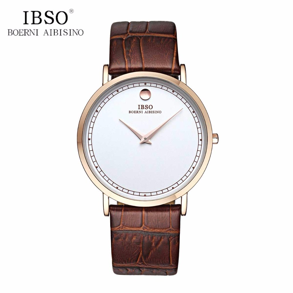 IBSO 2019 Simple Style Ultra Thin Mens Watches Fashion Quartz Watches Leather Band Casual Watches B2220G