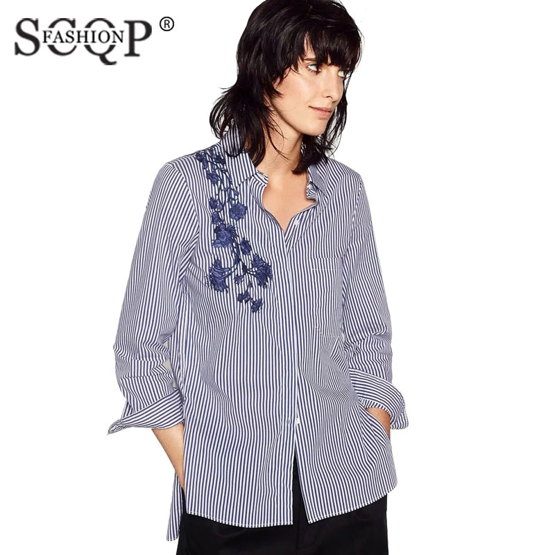 Scqp Fashion Striped Floral Embroidered Women Shirts
