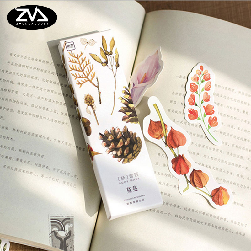 30pcs/box kawaii Student Bookmarks Stationery Gift Realistic Kawaii Cartoon Bookmarks Office School Supply Stationery Gift