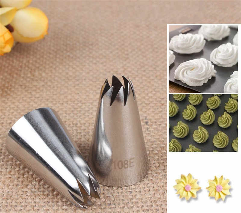 108E# Nozzle Cake Decorating Tips Stainless Steel Writing Tube Icing Nozzle  Baking & Pastry Tools Baking Tools Uroomee