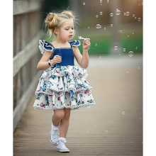 2019 Cute Flower Baby Girl Dress Print Lace Princess Toddler Infant Newborn Birthday Clothing 0-4Y