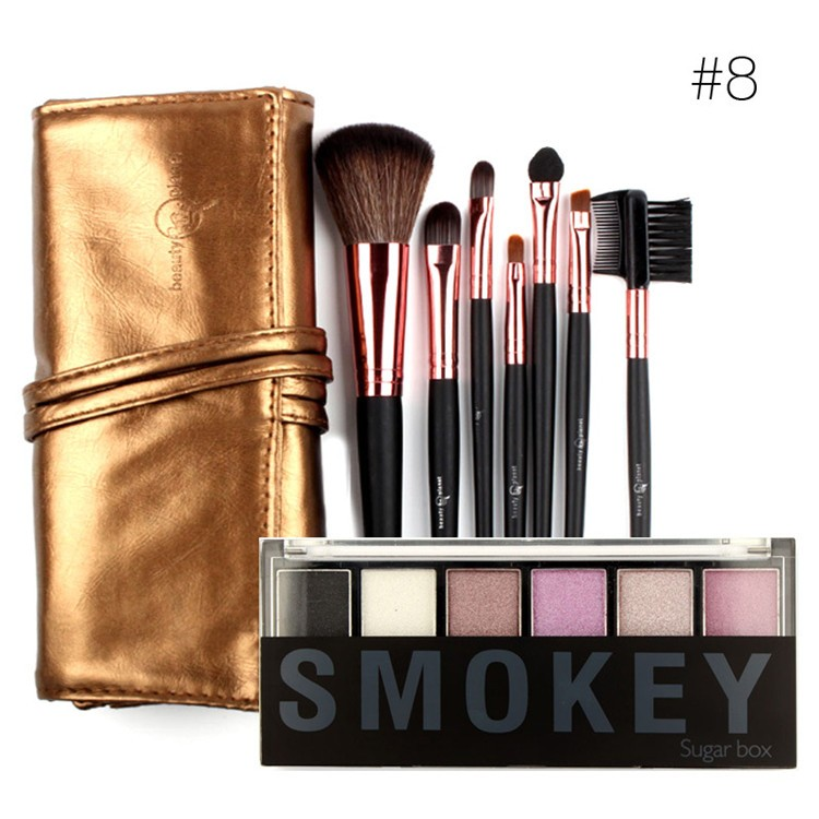 Drop-Shipping-7-Makeup-Brushes-in-Sleek-Golden-Leather-Like-Case-Portable-with-6-Colors-Eyeshadow (1)