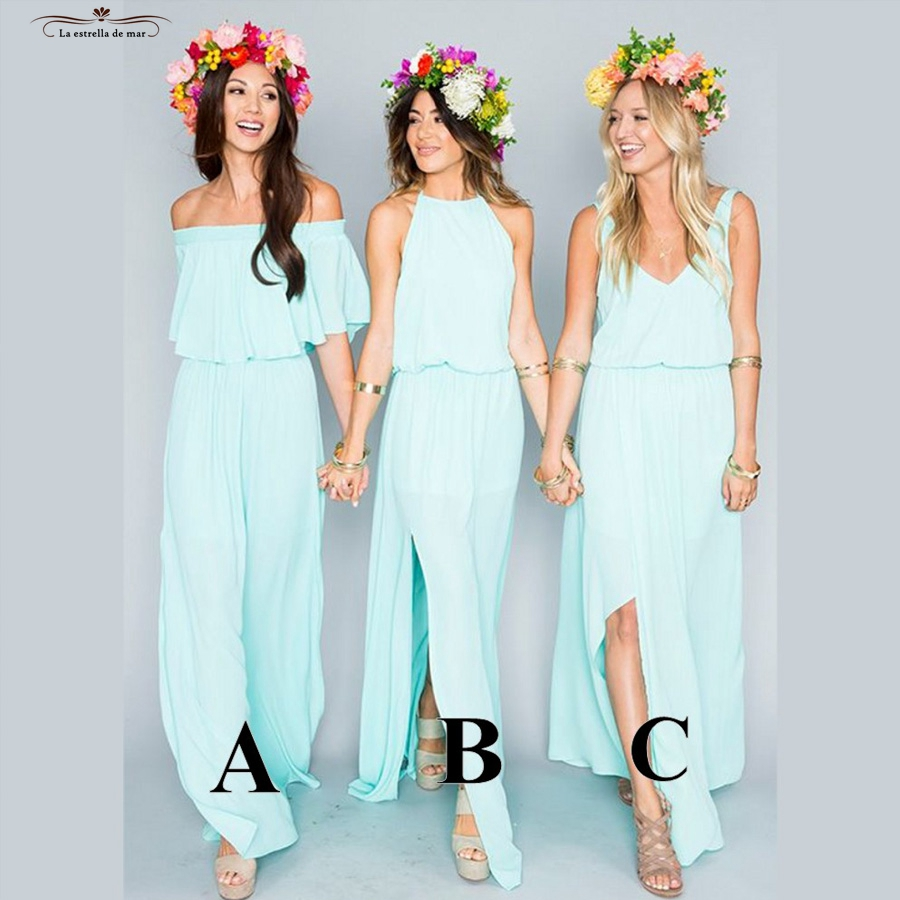 Compare prices on turquoise bridesmaid dresses online shopping vestido madrinha longo2017 chiffon 3 style turquoise champagne navy blue bohemian bridesmaid dresses cheap wedding party ombrellifo Choice Image