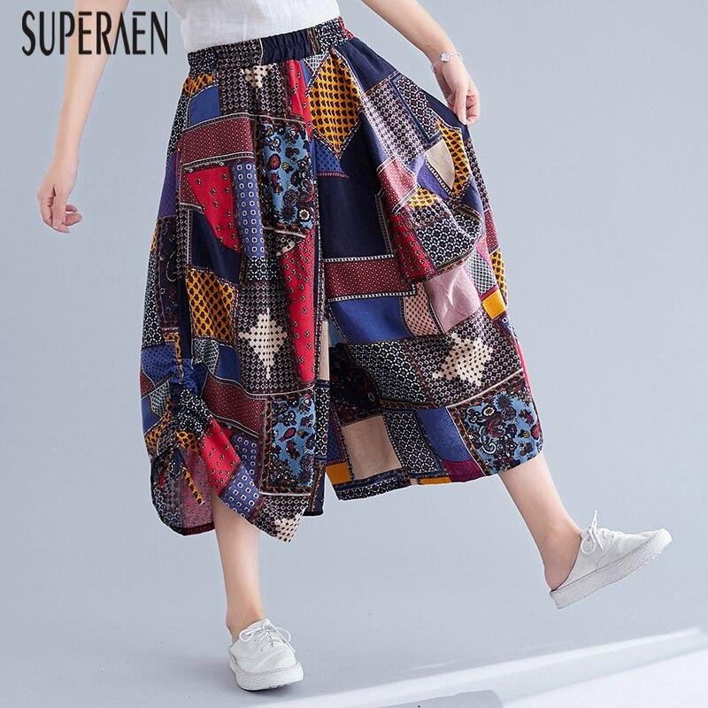 SuperAen Europe Casual Pluz Size Pants Women 2019 Summer New Wild Cotton Elastic Waist Wide Leg Pants Calf Length Pants Female