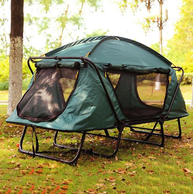 Tente de camping en plein air portable multi-usages tente de pêche double couche étanche à l'humidité tente étanche pour 1-2 personne