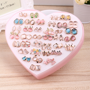 Image 3 - 36 Pairs Rainbow Opal Stud Earring Set For Women Gold Color Butterfly/Cat/Fox/Rabbit Small Earrings Mix set Gift Box Design