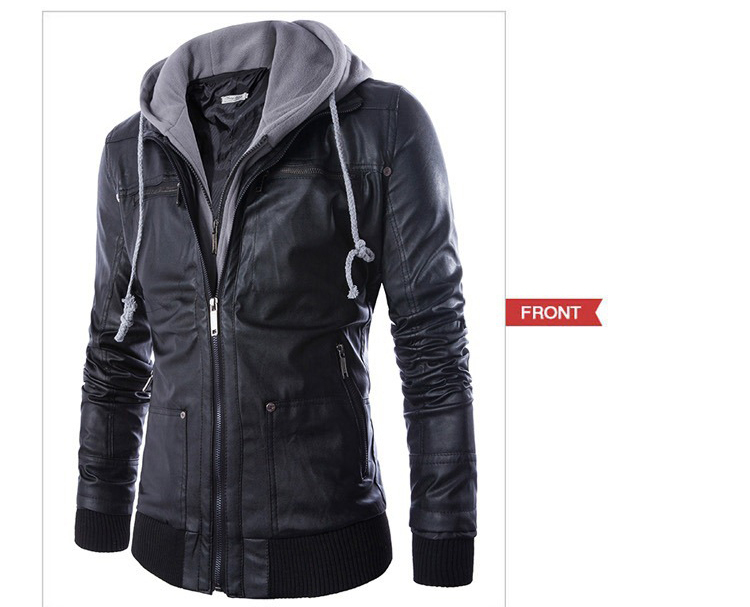 Popular Mens Hooded Leather Jacket-Buy Cheap Mens Hooded Leather ...