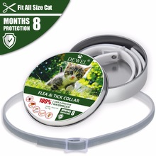 Dewel Herbal Cat Puppy Collar Anti Lopp Myggor Ticks Vattentät Cat Flea Collar för Liten Hund Pet 8 Månadsskydd