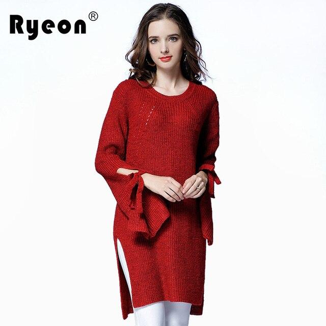 Ryeon Sweater Dress Plus Size Autumn Winter Women Sexy O Neck Long