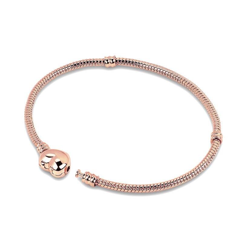 Высокое качество 16-21 см змейка цепь звено браслет подходящая Европейская Подвеска DIY браслет для женщин DIY Мода для украшения подарка - Окраска металла: C002 rose
