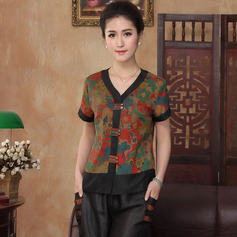 Femenino Shirtsilkworm 100 Tops Blusa Mujeres Tyr2302 Ranúnculo De Seda Mujer Tradicional Chino Camisa xIqCYBwq