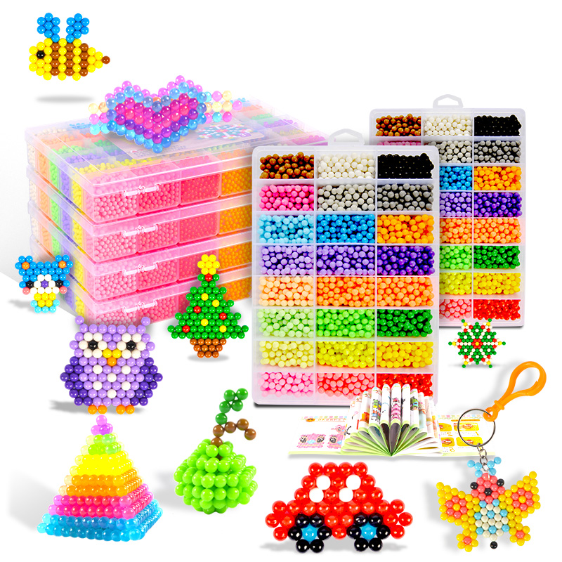 Aqua Beads Toy For Children  Magic Water Beads Kit Baby Creative Handmade Beads Aqua 5mm Puzzles Diy 3d Play Educational Toy