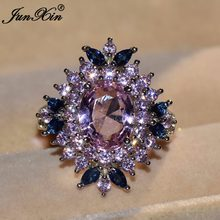 JUNXIN Luxury Male Female Pink Blue AAA Zircon Stone Ring Fashion Gold Filled Jewelry Vintage Wedding Rings For Men And Women(China)