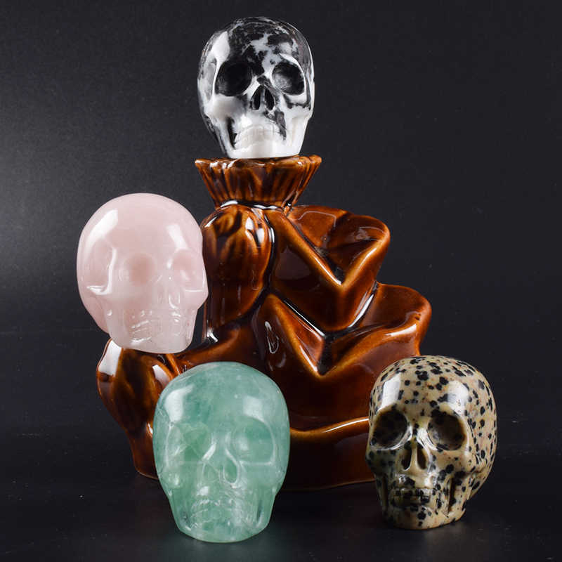 2 inch Handmade Natural Stone Skull Figurine Crystal Carved Statue Realistic Feng Shui Healing Home Ornament Art Collectible