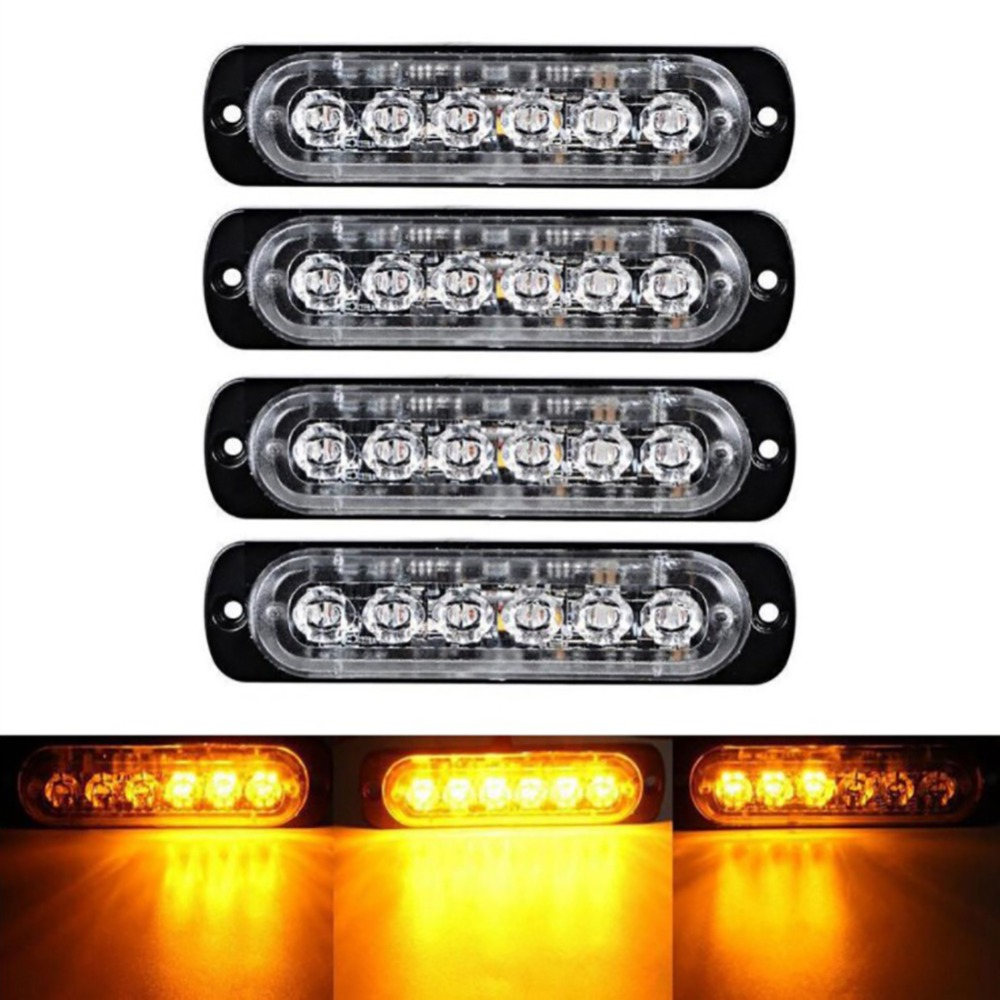 1/2/4pc 18 Modes 6LED Car Truck Light Rectangular 18W 1000LM Waterproof IP67 Emergency Beacon Warning Hazard Flash Strobe Light
