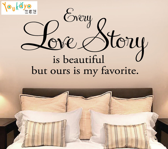 Romantic Bedroom Quote   Every Love Story Is Beautiful   Vinyl Wall Decal  Sticker Room Badroom