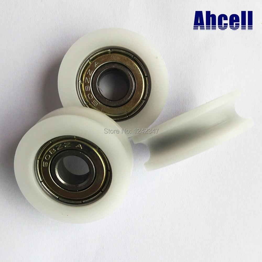 4pcs 30mm U groove Nylon Plastic PA66 Embedded 608 Furniture Room H Slide Door Window 608Z Bearing Pulley Caster Roller Wheel