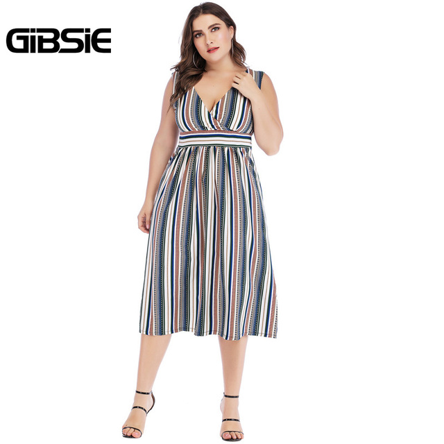 GIBSIE Sexy Wrap V Neck Striped Long Dress 5xl 4xl 3xl Summer Women Plus Size Dresses Female Sleeveless High Waist A Line Dress 4