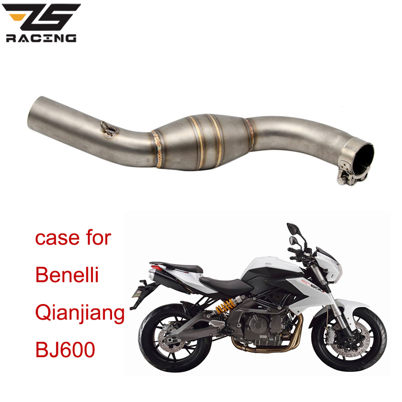 ZS Racing For Motorcycle Benelli Qianjiang BJ600 Exhaust Muffler Middle Pipe 51mm Motorbike Muffler Exhaust Link Pipe Escape