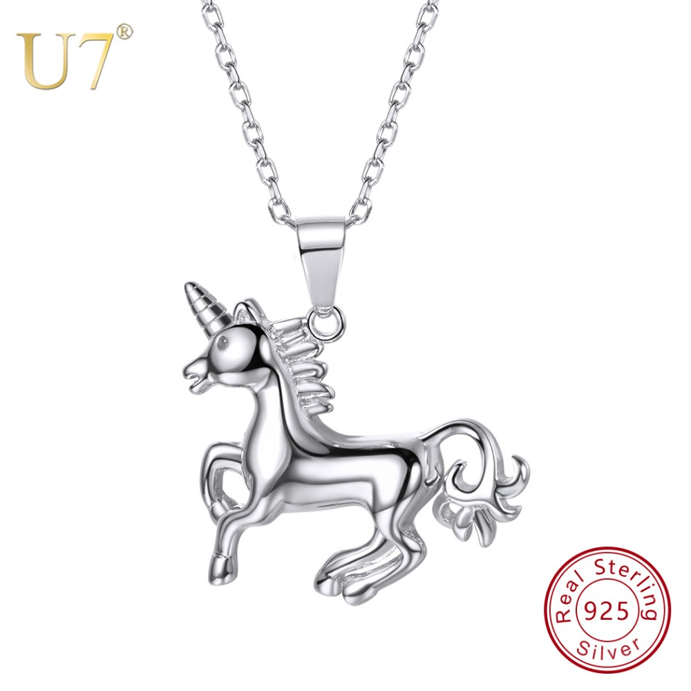 U7 100% 925 Sterling Silver Horse Running Animal Pendant & Chain 2018 Valentine's Day Gift
