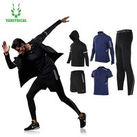 Vansydical Mens Running Suits Winter Trainning Tracksuit Warm 5pcs Sport Suits Man Gym Clothing Sportswear Fitness