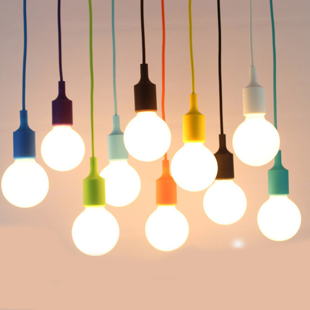 Mouth Colorful Pendant Lamp Led Bar Restaurant Bedrooms Hanging Light Bulb Diy Holder Silica