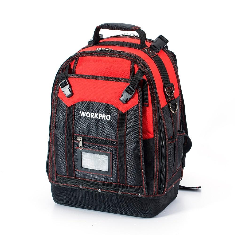 כרטיסי טלויזיה ועריכה WORKPRO ניו כלי Backpack סוחר מארגן תיק תיקי כלי Waterproof תרמיל רב תכליתי עם 37 כיסים (2)