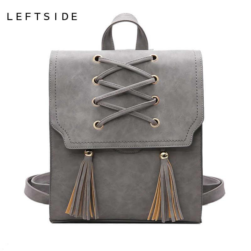 LEFTSIDE 2017 путешествия рюкзак с кисточками Для женщин рюкзаки из искусственной кожи школьная сумка Повседневное Стиль A4 Для женщин рюкзак, модные тенденции