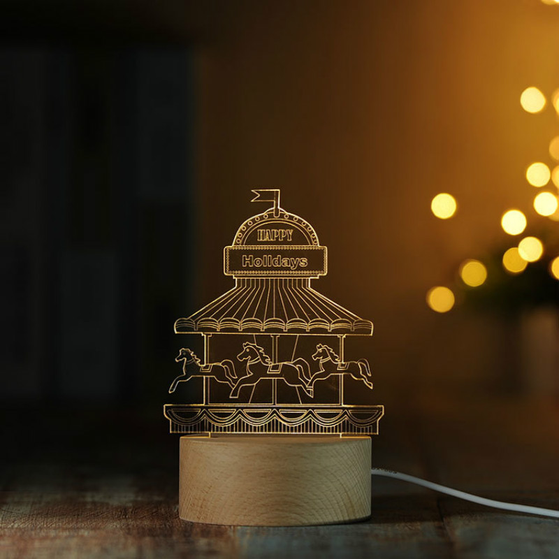 3D Ferris wheel Nightlight Eiffel Tower Table lamp Merry-go-round Bedroom Decoration with Music box Little Girls gift IY804016