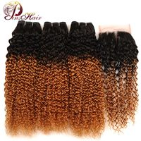 Pinshair Ombre Brazilian Kinky Curly Bundles With Closure Blonde 1B 30 Hair Human Hair Weave 3 Bundles With Closure Nonremy Hair