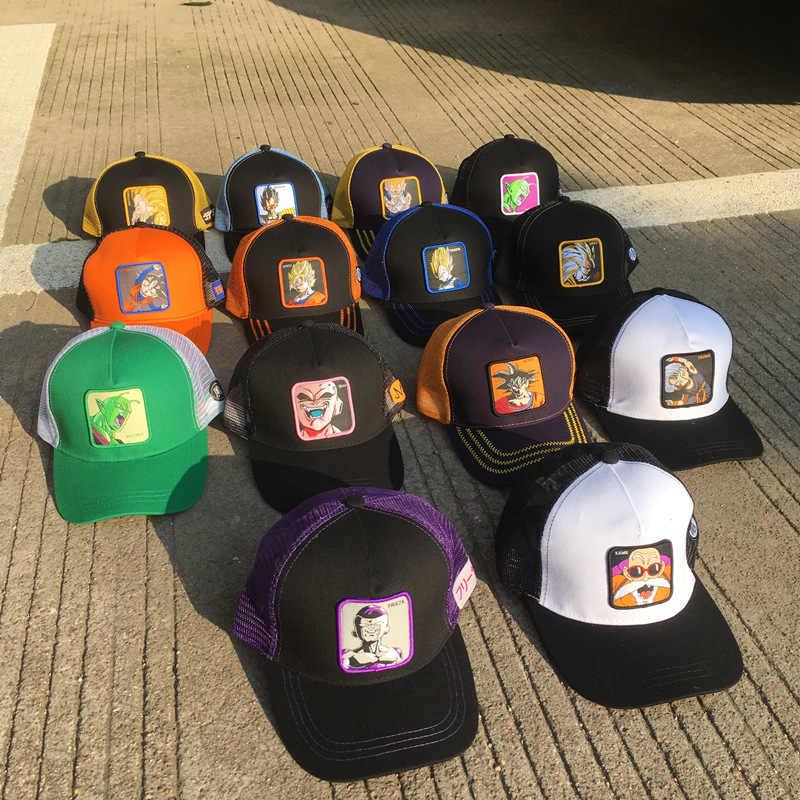 Yeni Dragon topu örgü şapka Vegeta beyzbol şapkası yüksek kaliteli kavisli ağız siyah ve mavi Snapback kap Gorras Casquette Dropshipping