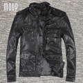 Black genuine leather jacket coat men sheepskin motorcycle jackets chaqueta moto hombre veste cuir homme cappotto LT1080