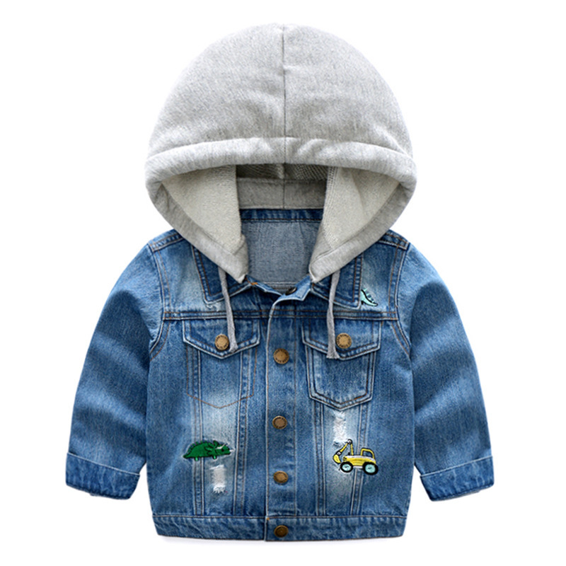 Children Clothing Kids Coat Long Sleeve Button Denim Jackets Garment Patch Hat Cowboy Loose Coat Handsome Pocket Standard Size