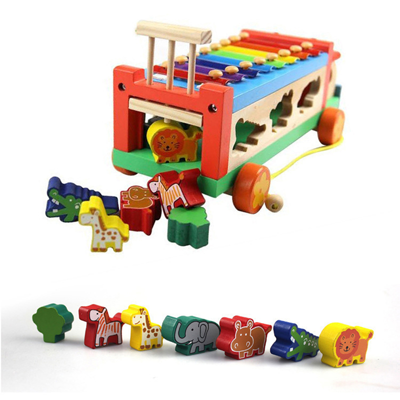 Wooden Animal Cognitive Trailer Children Educational Toy Musical Instrument 8 Scales Hand Knocking Piano Musical Toys