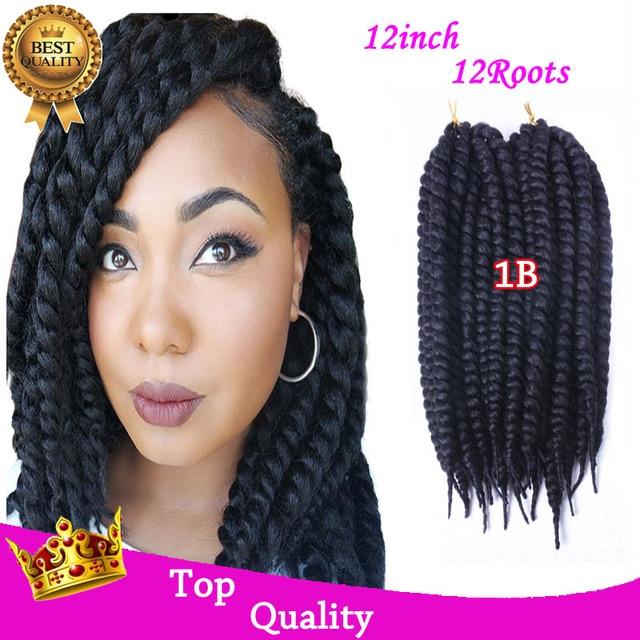 12inch 12 Havana Mambo Twist Crochet Braid Hair Extensions Synthetic