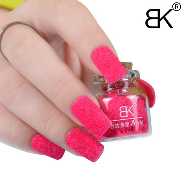 Bk Decorate Velvet Fiber Powder Nail Polish Professional Varnish Art Cosmetics 24 Colors