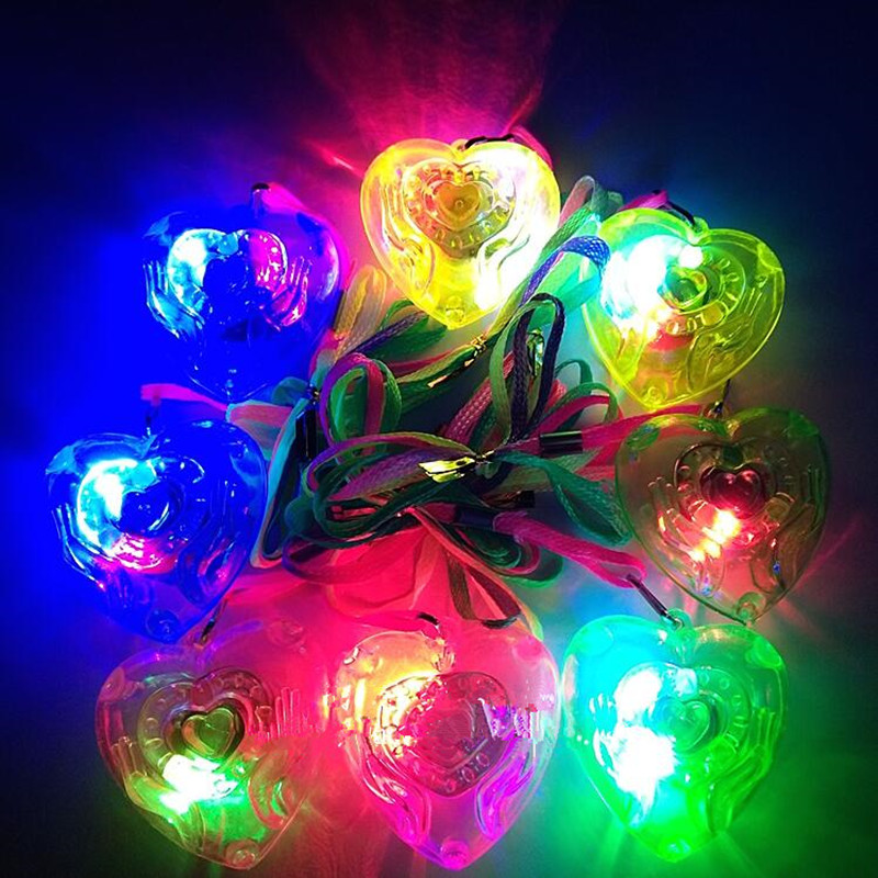 Kids Children Light Up Jelly Star Heart Led Flashing Necklace Pendants Gift Rave Party Wedding Cosplay Props Halloween Costumes & Accessories Costume Props