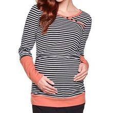 Plus Size Autumn Long Sleeve Pregnancy Nursing Maternity Clothes Striped Breastfeeding T-shirt Nursing Clothes Pregnant Women