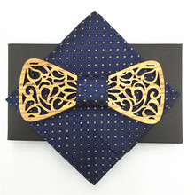 Wood Bow Tie Mens with pocket squares Wooden Ties Gravatas Corbatas Business Butterfly Cravat Party For Men