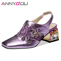 ANNYMOLI Spring Summer Sandals Women Shoes Gemstone Block Heel Shoes Patent Leather Flower Square Toe Sandals Purple Size 34 41