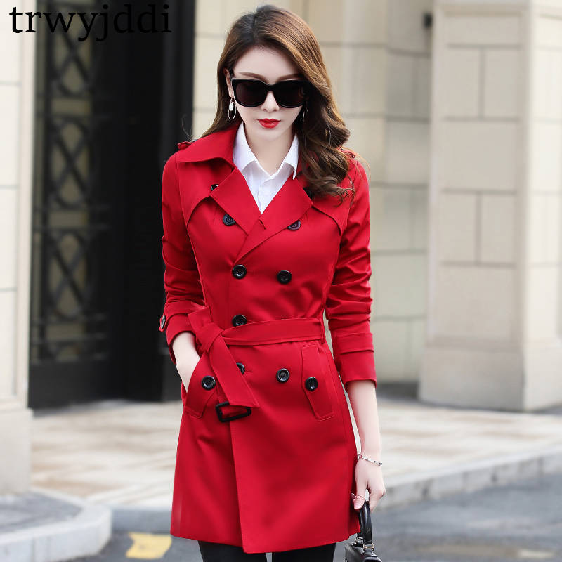 Plus Size 6XL Double-Breasted Office Trench Coat Women Elegant Overcoat Long Trench Coat Spring Coat Women Casaco Feminino  N398