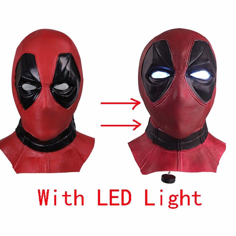 Nouveau masque de super-héros Marvel Deadpool avec lumière LED masque facial en Latex respirant Halloween Cosplay Prop