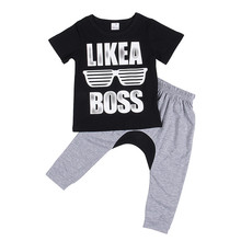 Autumn New 2PCS Kids Baby Toddler Boys Clothes Set Short Sleeve Clothing Letter Print T-shirt Tops+Long Pants Leggings Outfits