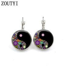 New / style glamour fashion Yin Yang flower photo earrings, convex and concave glass inlaid earrings jewelry.